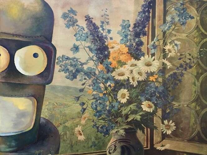 Artista insere personagens da cultura pop em pinturas encontradas em brechós