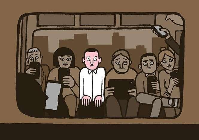 Ilustrador demonstra em seu trabalho como a tecnologia está acabando com nossas vidas
