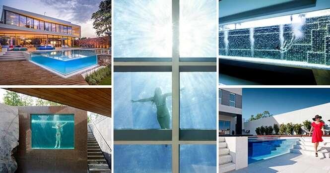 """Piscinas fantásticas com """"paredes"""" de vidro"""
