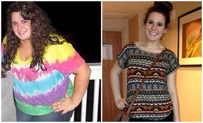 Antes e depois provando que as crianças conseguem perder peso facilmente