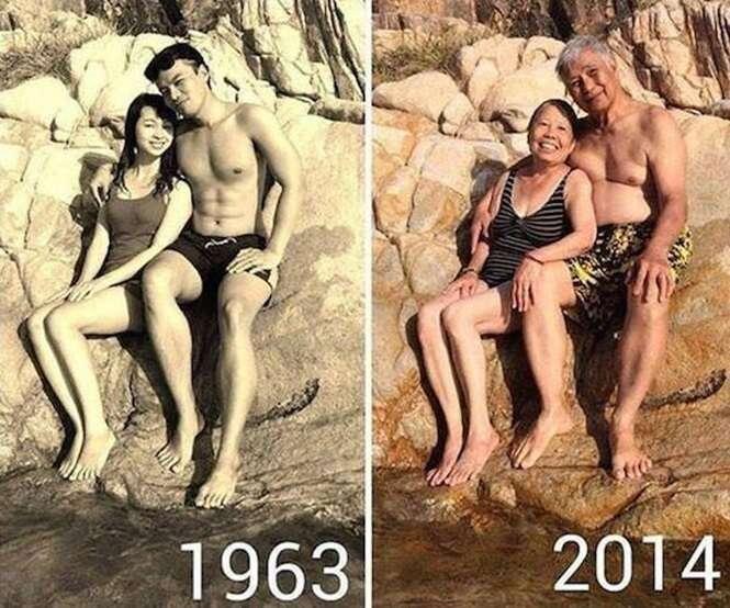Várias fotos de antes e depois provando que o amor pode ser para sempre