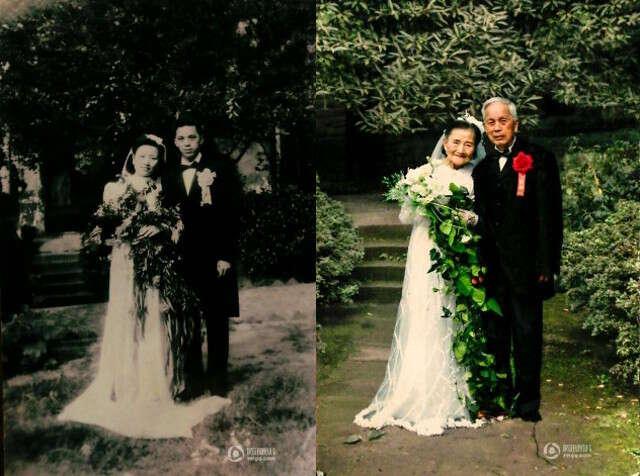 Idosos comemoram 70 anos de casados recriando fotos do casamento