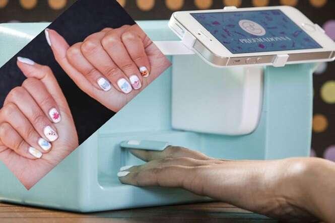 Máquina incrível permite imprimir emojis e selfies em suas unhas