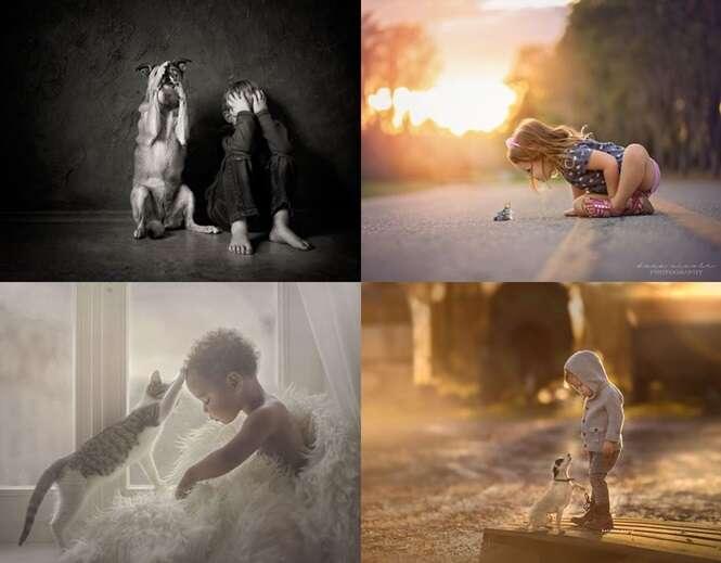 Fotos comoventes mostrando o carinho de crianças com seus animais de estimação