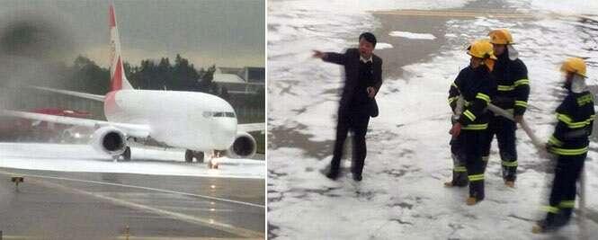 Voo atrasa em 10 horas após confusão de bombeiros fazer com que avião errado fosse coberto por espuma