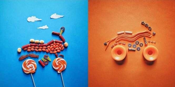 Artista cria esculturas criativas usando itens alimentares do cotidiano