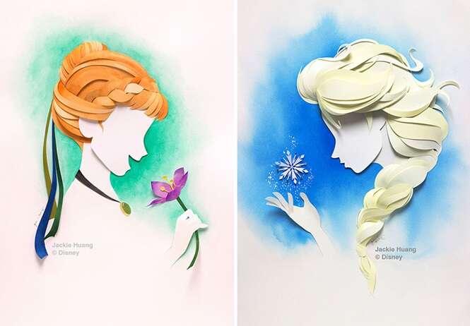 Artista cria personagens da Disney com camadas de papel