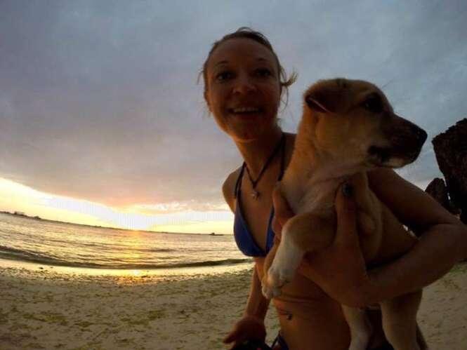 Alemã se apaixona por cão abandonado durante suas férias nas Filipinas