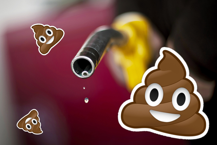 Ladrões tentam roubar gasolina de ônibus e acabam com a boca cheia de cocô