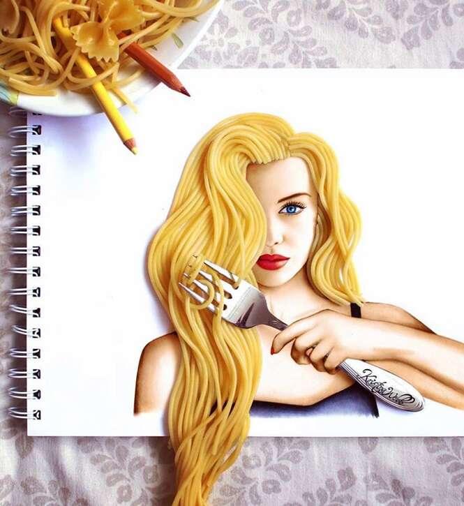 Ilustrações fantásticas que misturam desenho com realidade