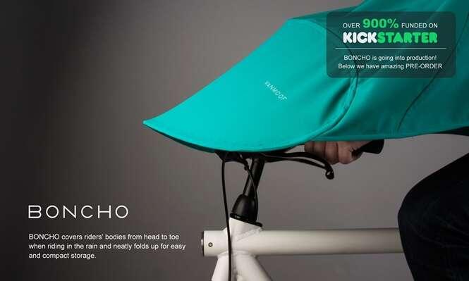 Empresa lança capa de chuva que protege o corpo todo dos ciclistas