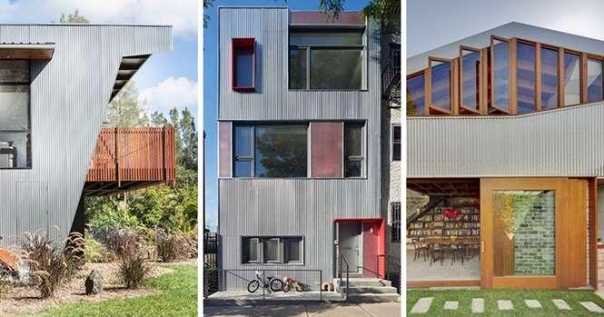 Exemplos de como usar telha de aço galvanizado na fachada da residência