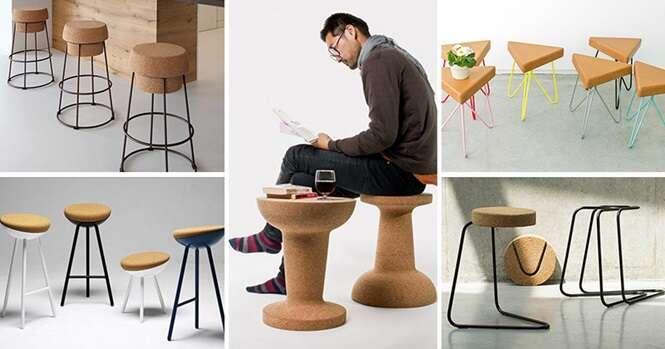 Modelos criativos de banquetas feitas com cortiça