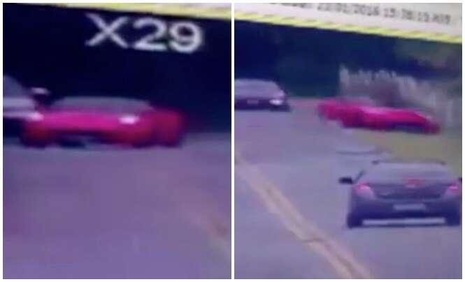 Motorista perde controle de Ferrari de R$ 2 milhões e vai parar em córrego no Guarujá