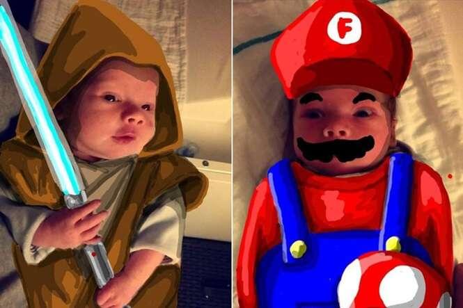 Pai transforma filho recém nascido em super-heróis