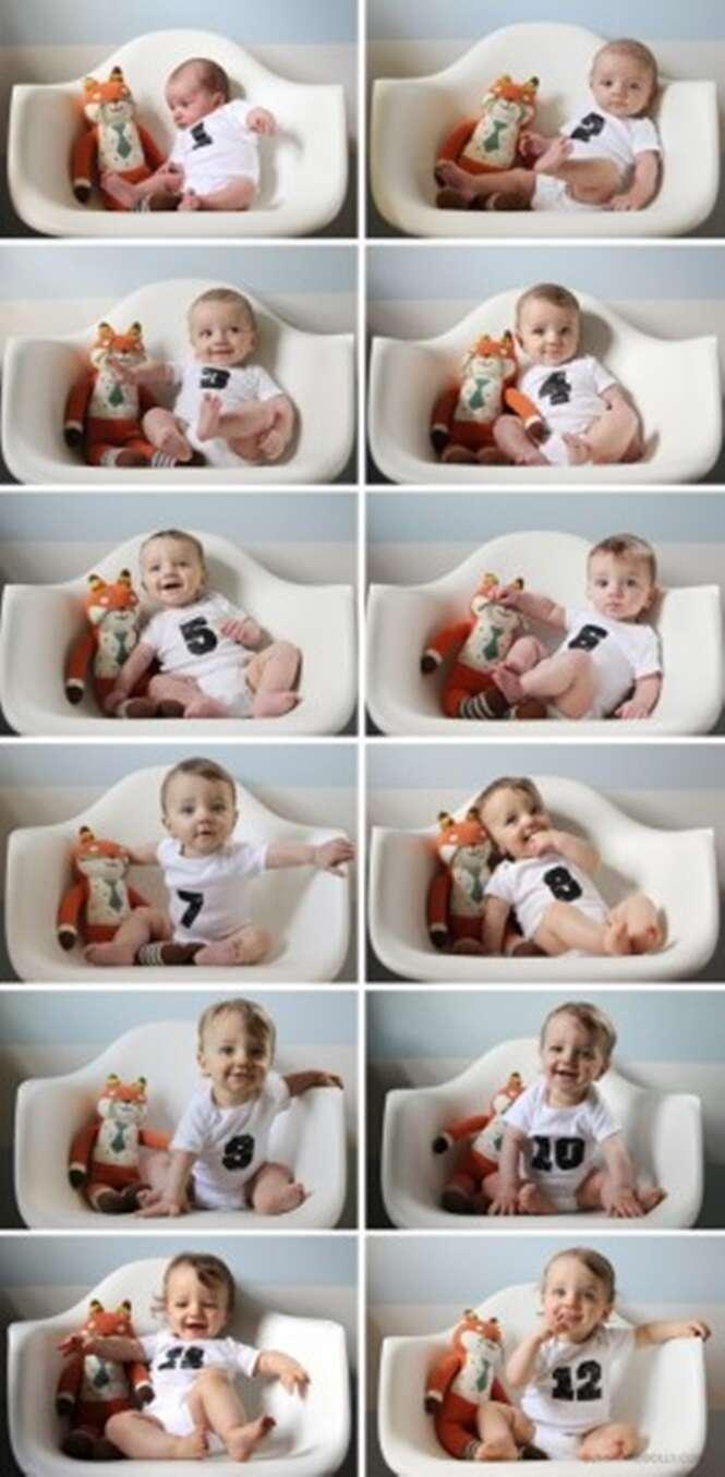 Formas criativas de documentar em fotos o primeiro ano de seu bebê