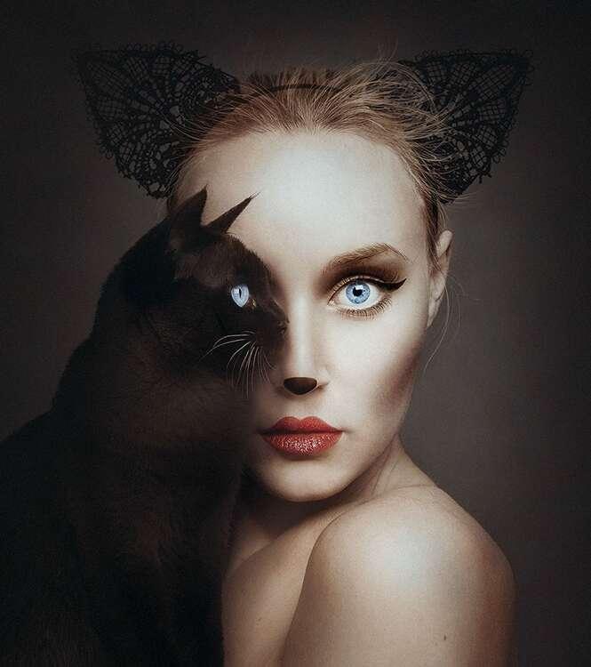 """Artista se """"une"""" a animais com fotos criativas"""