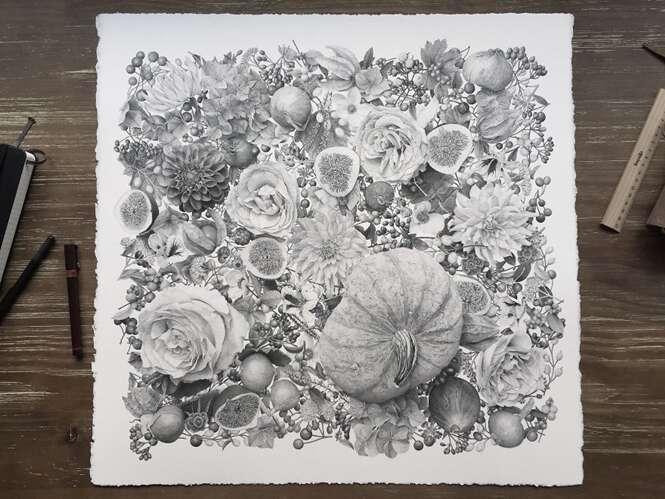 Artista cria pintura incrível feita com 7 milhões de pontos de tinta
