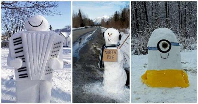 Bonecos de neve criativos