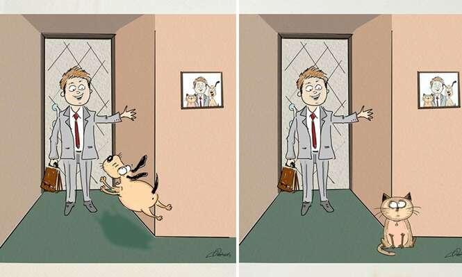 Lista de imagens mostra a diferença entre viver com um cão e com um gato
