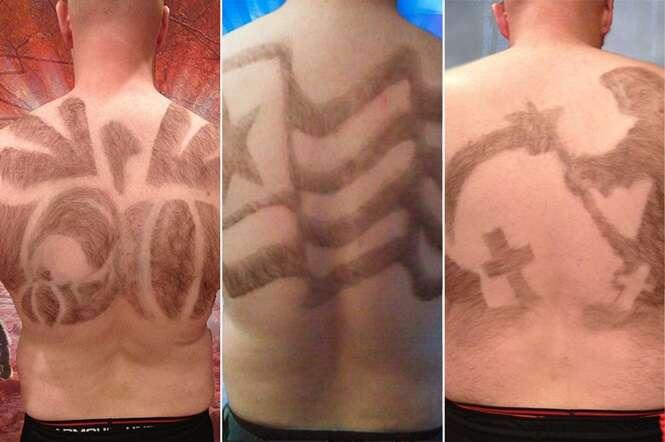 Homem tem pelos das costas cortados como verdadeiras obras de arte