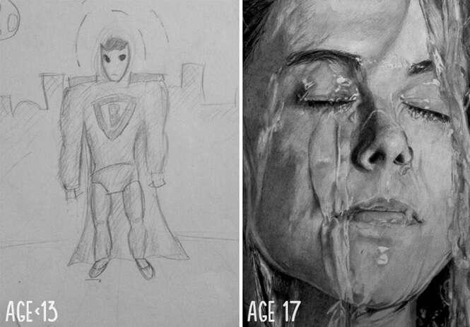 Antes e depois demonstrando como a prática nos desenhos leva à perfeição