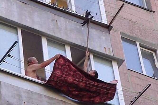 Vídeo angustiante mostra momento em que homens salvam gato pendurado em varal do lado de fora de prédio