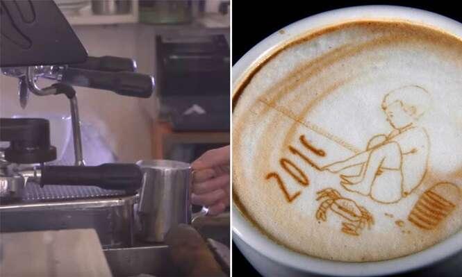 Máquina permite criar desenhos personalizados no seu café