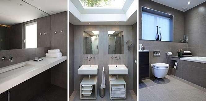 Exemplos de banheiros com tons cinza e branco