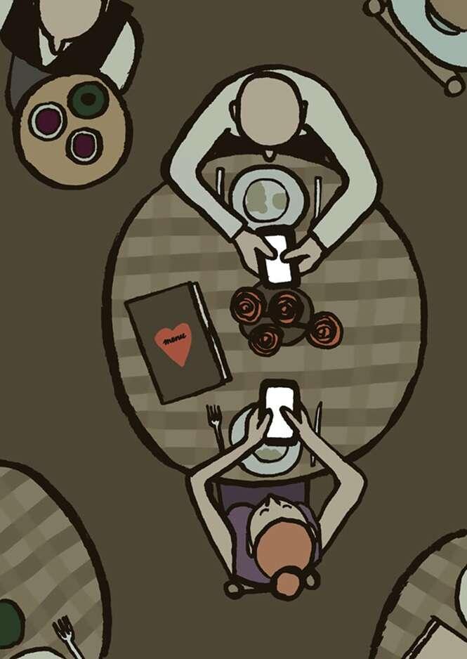 Ilustrações demonstrando nossa dependência por tecnologia