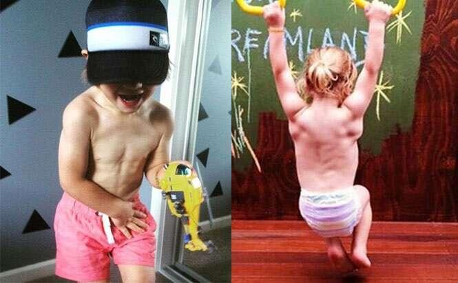Menino de três anos de idade surpreende por possuir físico musculoso