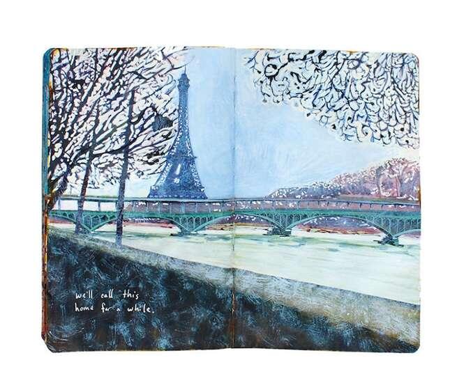 Artista documenta dois anos de viagens em pinturas em caderno