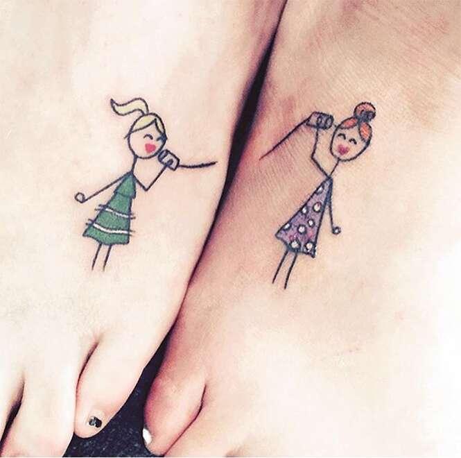 Tatuagens criativas que podem ser compartilhadas por irmãs