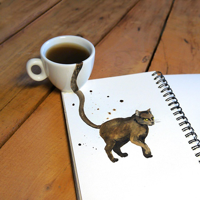 Ilustradora usa café para criar incríveis pinturas de gatos