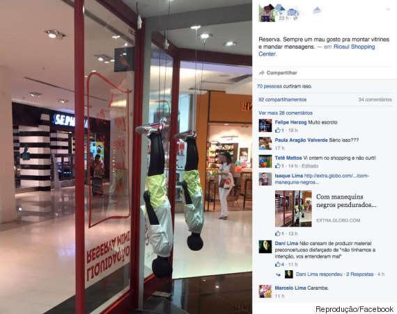 Grife carioca é acusada de racismo ao criar vitrine com manequins negros pendurados de ponta cabeça