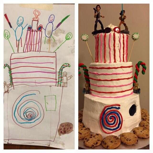 Padeira faz bolo exatamente como criança de seis anos desenhou