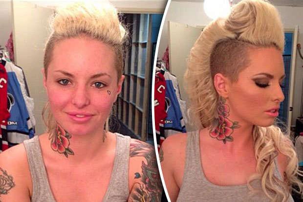 Imagens impressionantes mostram estrelas de filmes voltados a adultos antes e depois de usarem maquiagem