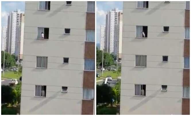 Vídeo chocante mostra bebê de 1 ano andando na janela do terceiro andar de prédio