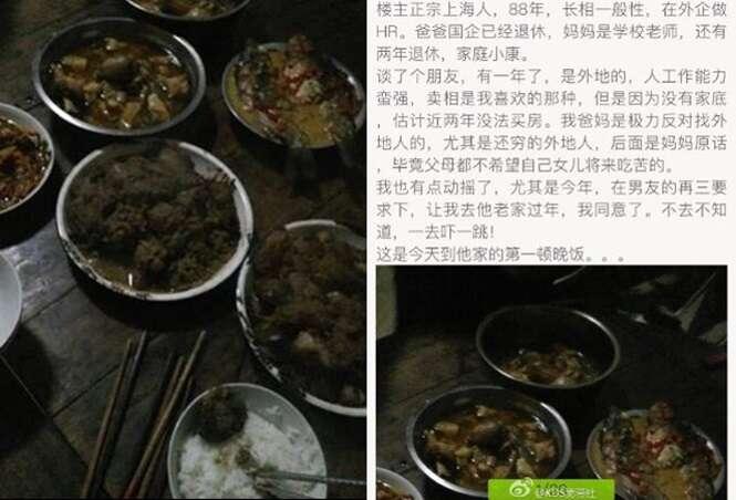 Mulher abandona namorado ao ver pratos humildes que sua sogra preparou para o jantar