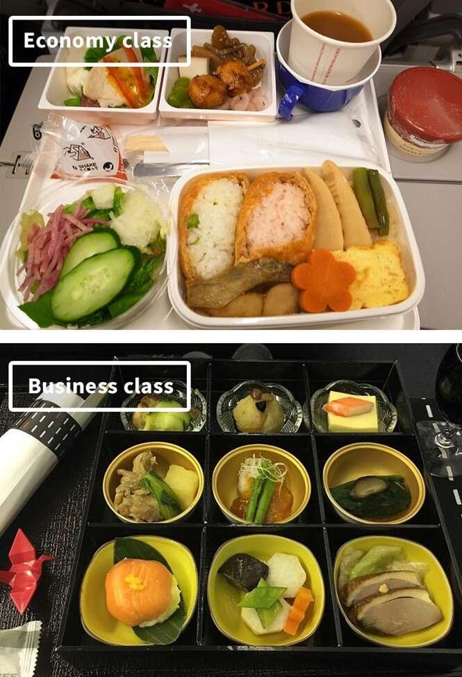 Comida de avião: série mostra a diferença entre comer na classe econômica e primeira classe