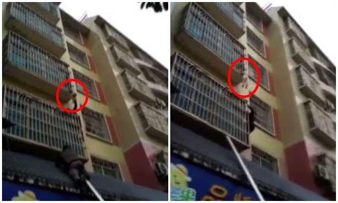 Vídeo mostra momento em que pedestres se arriscam para salvar bebê preso em varanda no terceiro andar