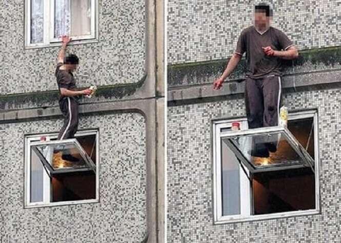Pessoas que se arriscaram demais para limpar janelas
