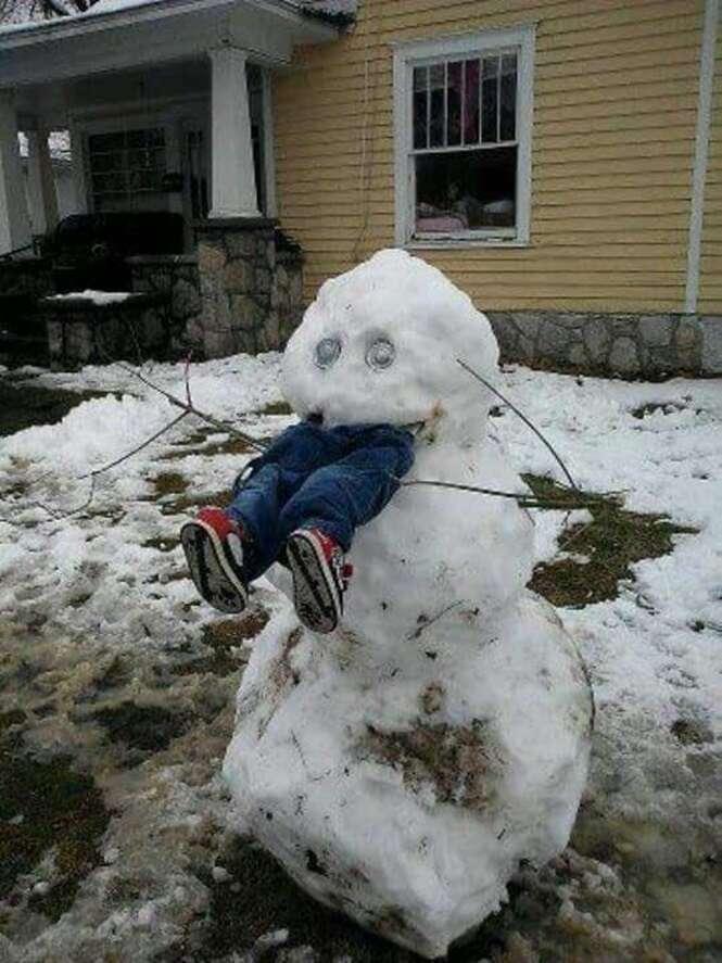 Os mais divertidos e criativos bonecos de neve