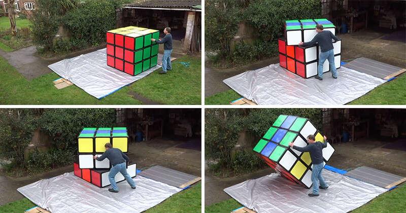 Homem cria o maior cubo mágico do mundo