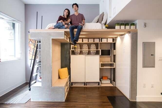 Designers cria área multifuncional para quem vive em pequenos apartamentos