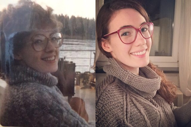 Jovem de 25 anos reproduz foto que sua mãe tirou quando tinha a mesma idade e resultado impressiona