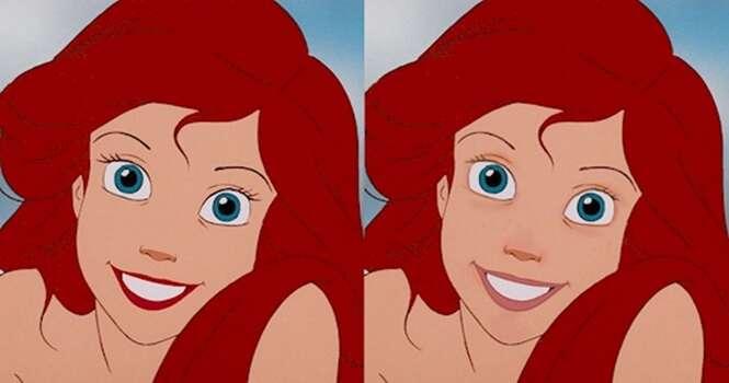 Princesas da Disney com e sem maquiagem