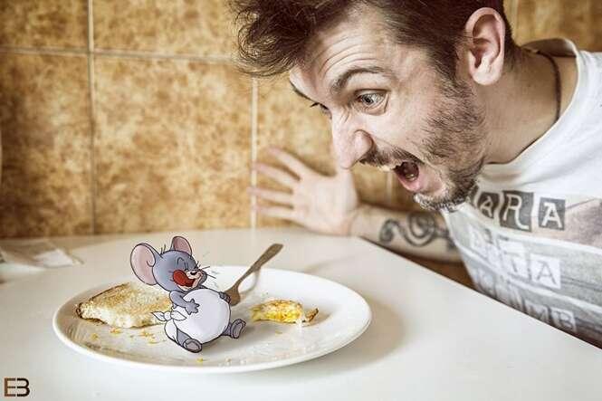 Artista entediado desenha o ratinho Jerry em suas próprias fotos