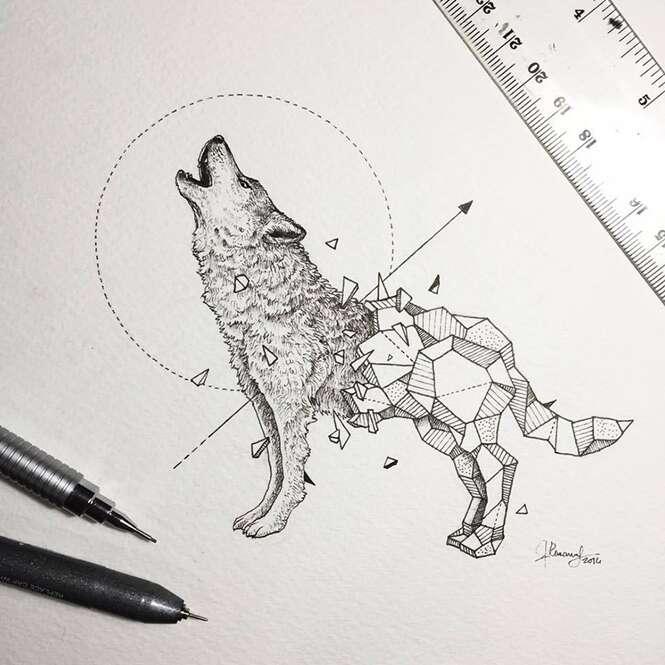 Artista mistura desenhos de animais selvagens com formas geométricas