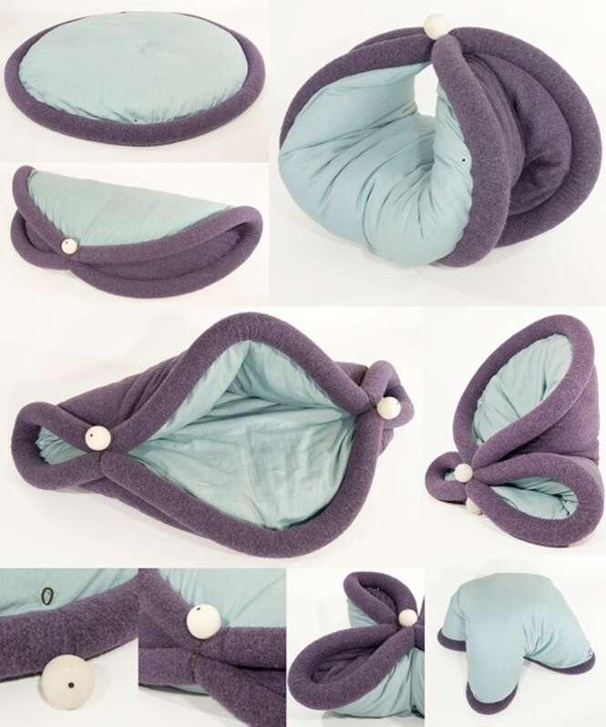 Almofada curiosa pode ser moldada para relaxar em qualquer posição
